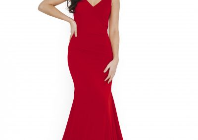 Dynasty Full Length Train Dress with V Neck Line 1013652