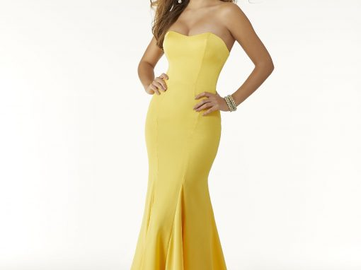 Morilee Crepe Fitted Prom Dress Yellow 45034