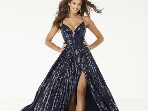 Morilee Sequined A Line Slit Dress 45041