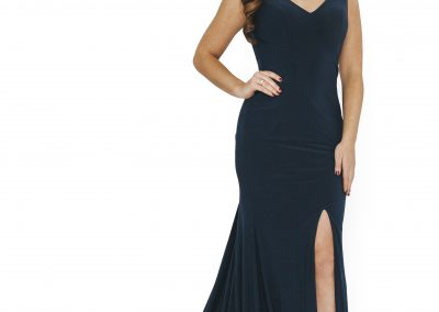 Dynasty Deep Emerald V Neck Front Slit with Train Gown 1013628