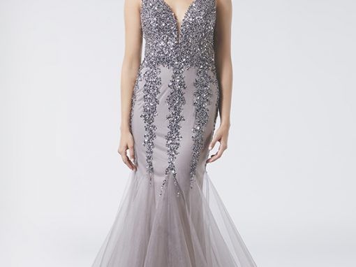 Tiffanys Mermaid Sparkle Low Back Taupe Prom Dress Rory