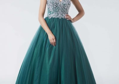 Tiffanys Strapless Crystal Detailed Green Prom Dress Clemence
