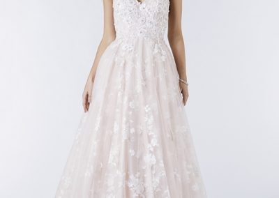 Tiffanys Lace Detailed A Line Blush Prom Dress Ember