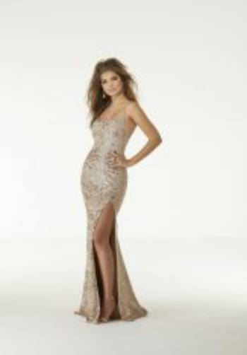 Morilee Sequined Fitted Split Dress 45003