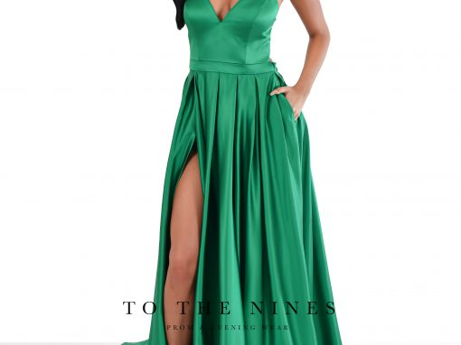 Satin Emerald V Neck Front Slit with Train Gown